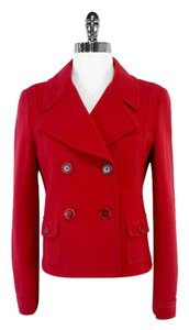 Love Moschino Red Cropped Wool Blend Coat