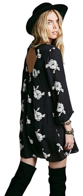 Item - Black Embroidered Austin Emma Mid-length Short Casual Dress Size 2 (XS)