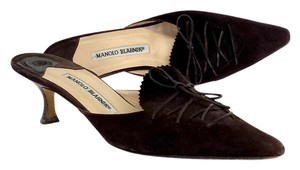 Manolo Blahnik Brown Suede Slip On Kitten Heels Sandals