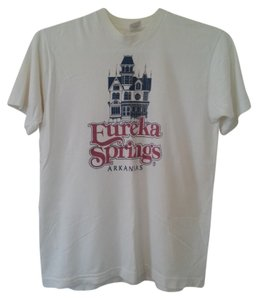 Fruit of the Loom Eureka Springs Arkansas T-shirt Navy Medium Size 8 Size 10 8 10 Cotton Machine Washable Crewneck Sweet Nice Cute Fun T Shirt White with Red & Blue Print