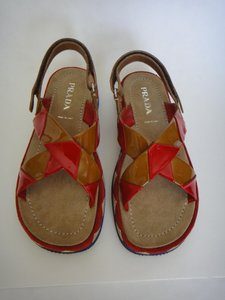 Prada Italian Suede Patent Leather Multi Sandals