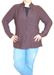 Eileen Fisher Merino Wool Chocolate Sweater Jacket Xl Cardigan