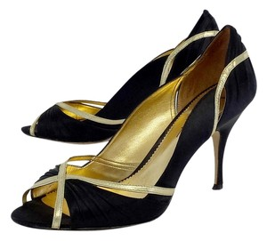Nicole Miller Black Gold Peep Toe Heels Pumps