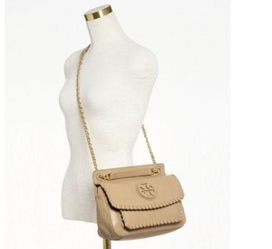 Tory Burch Leather Crossbody Saddle Satchel in Apricot Nude