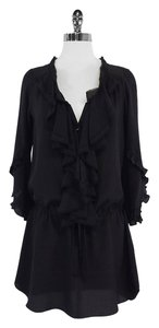 Rebecca Taylor short dress Black Ruffle Front Silk on Tradesy