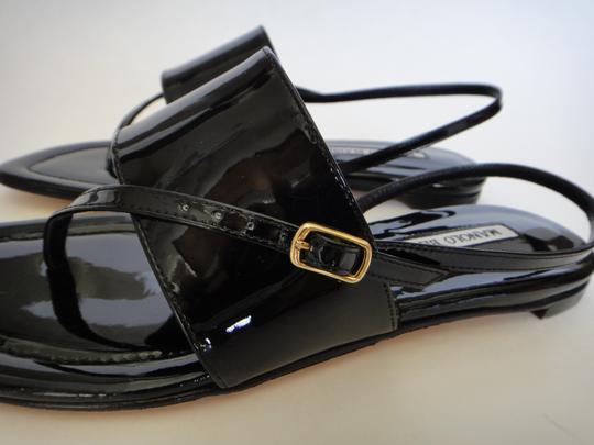 Manolo Blahnik Patent Leather Italian Black Sandals