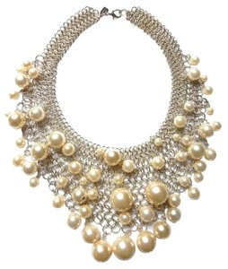 Kenneth Jay Lane Kenneth Jay Lane Pearl Bib Silver Necklace