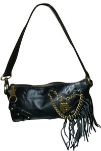 Juicy Couture Leather Fringe Black Clutch