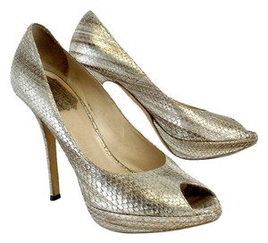 Dior Metallic Reptile Leather Peep Toe Heels Pumps