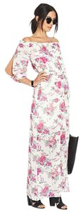 Pink, White, Floral Maxi Dress by Forever 21 Maxi