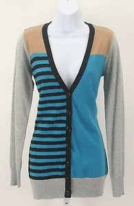 Forever 21 21 Teal Tan Grey Black Stripe Cardigan B136 Sweater