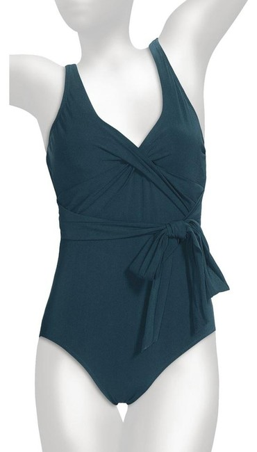 Lands' End Lands End Teal Lela Beach V-Neck Tie Sash Tank Swimsuit Women's Size 18
