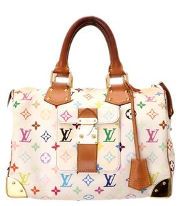 Louis Vuitton Satchel in Multicolore White, Cranberry Red