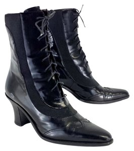 Donna Karan Black Leather Lace Up Boots