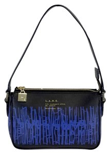 L.A.M.B. Black Blue Print Leather Handbag Hobo Bag
