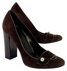 Gucci Brown Suede Gold Button Pumps