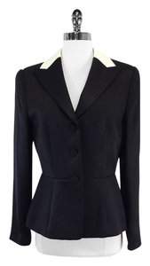 Giorgio Armani Black Cream Silk Blazer
