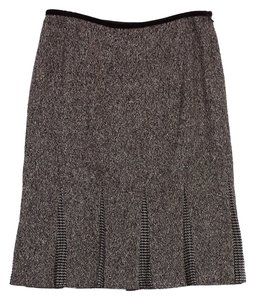 Carmen Marc Valvo Brown Wool Silk Blend Skirt