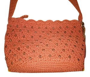 The Sak Orange Beach Woven Rust Satchel Beaded Hobo Shoulder Bag