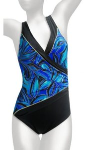 10e94d1cc1 Longitude Longitude Blue   Gold One Piece Crossover V-Neck Swimsuit Women s  ...