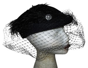 Other Vintage wool feather veil hat