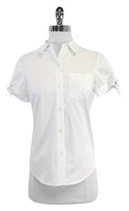Kate Spade White Cotton Short Sleeve Shirt