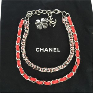Chanel SALE!!! Chanel Spring Coral Silver Hardware Suede And Tweed Double Chain Clover CC necklace