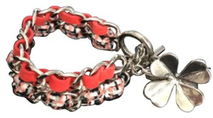 Chanel SALE!!! Chanel Spring Coral Tweed And Suede Silver Hardware Double Chain Clover Toggle Bracelet
