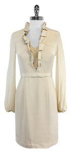 Kay Unger short dress Cream Silk Long Sleeve on Tradesy