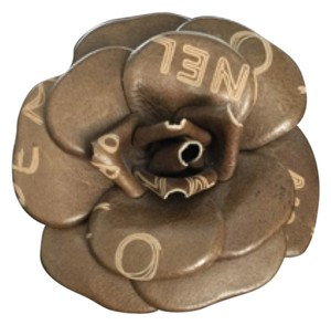 Chanel Chanel Green Leather CC logo Embossed Signature Camellia Flower Pin Brooch
