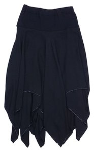 St. John Black Asymmetrical Sequin Hem Skirt