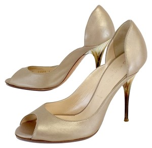 Casadei Shimmer Peep Toe Bone Accent Heels Pumps