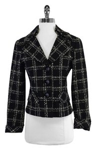 Nanette Lepore Black Cream Textured Plaid Jacket