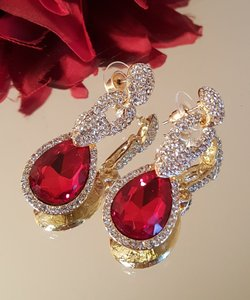 Gorgeous Red Gold Plated Wedding Earrings /mother Of Bride