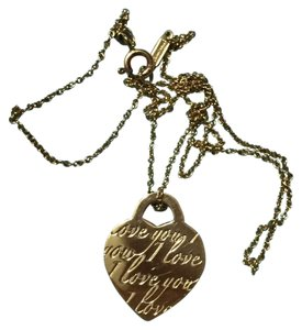 Tiffany & Co. TIFFANY & CO - Solid 18k 18kt Yellow Gold - I Love You Notes HEART TAG Pendant Necklace