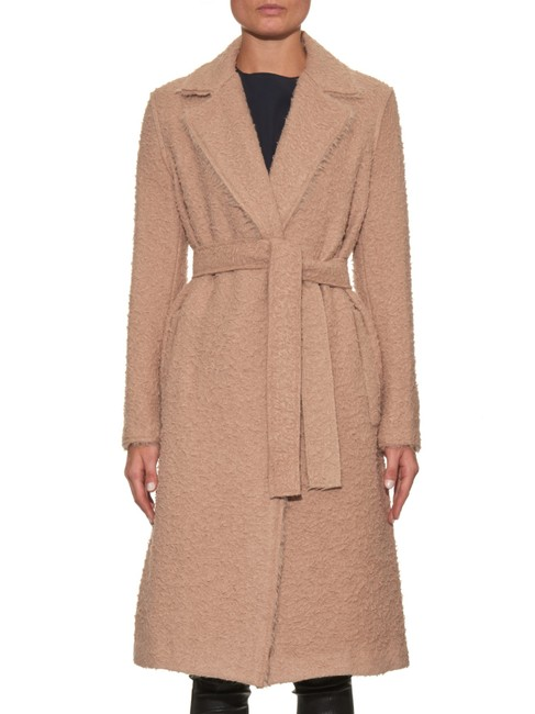 Helmut Lang Wool Teddy Bear Tan Fall Trench Coat Image 4