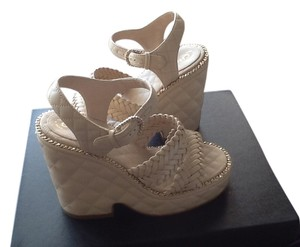 Chanel Wedge Cc Leather Beige gold chain Wedges