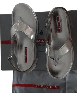 Prada Leath Silver Sandals
