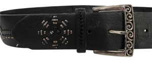 Brighton Brighton Wide Black Belt with Silver Buckle Size 36 with Abstract Floral Metallic and Black Patent Stitching Design