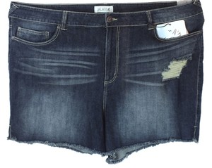 Jalate Jeans Plus Size Fashions Distressed Cut Off Shorts Dark Wash Blue