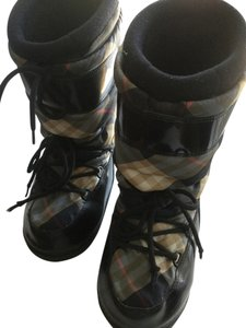Burberry Designer Snow Prep Preppy Cold Plaid tan black gray red Boots
