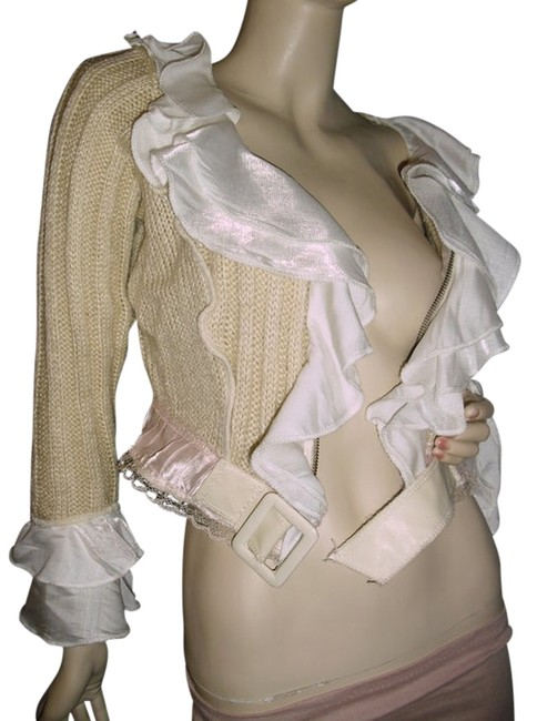 Item - Ruffled Cardigan Zip Front Lace Satin @ Fashionista Style Boutique Beige and White Sweater