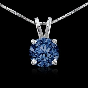 Hazrati 0.75 Carat Round Blue Diamond Pendant Locket Gold New