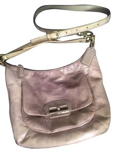 COACH Silver/ Gray Shiny Glossy Leather Large Crossbody Or Shoulder Bag
