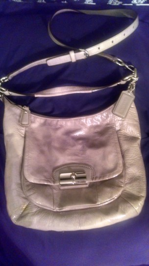 Coach Silver/ Shiny Glossy Leather Large Crossbody Shoulder Bag
