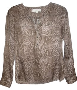 Ann Taylor LOFT Top Brown and Black, Animal Print