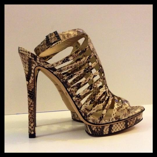 Brian Atwood New Stilletto Platform Ankle Strap Caged Ivory Black White Brown Pumps Image 1