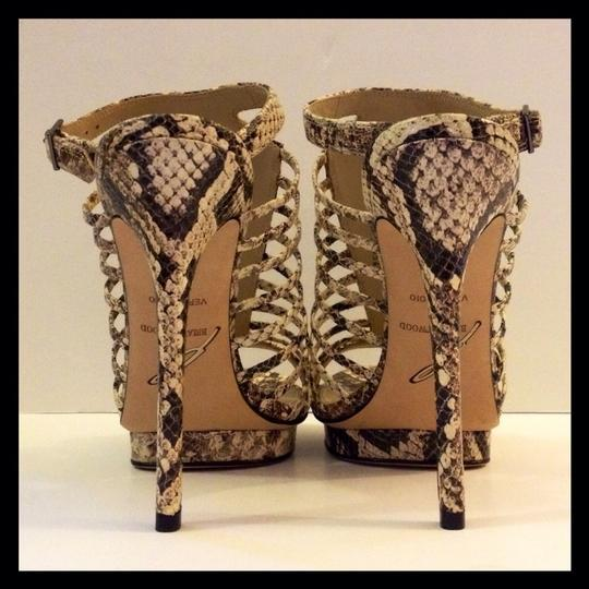 Brian Atwood New Stilletto Platform Snake Ankle Strap Ivory Black White Brown Pumps