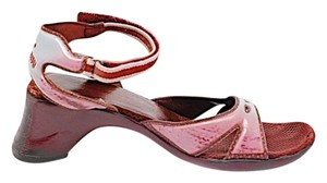 Miu Miu pink, blue and yellow ombre rubber with cranberry nylon Sandals