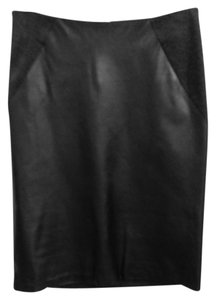 Theory Charcoal Leather Skirt Black and Gray